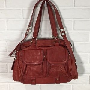 JUNIOR DRAKE BUTTERY RED LEATHER SATCHEL BAG